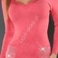 Koralowy sweter damski z kieszeniami i cyrkoniami, 040
