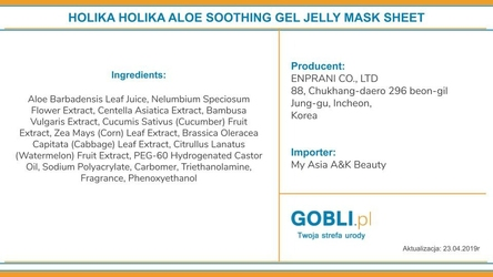 Holika holika aloe 99 soothing gel mask sheet, maseczka z aloesem, nawilża i regeneruje skórę