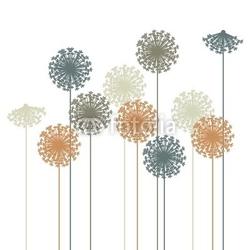Plakat na papierze fotorealistycznym streszczenie sylwetka dandelion - wektor