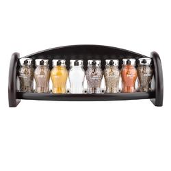 Pojemniki półka ze słoiczkami na przyprawy gald, zestaw na 8 przypraw czarny