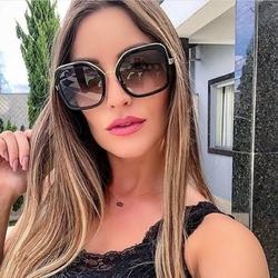 Okulary przeciwsłoneczne damskie czarne złote duże