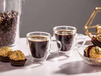 Szklanki  kubki szklane termiczne do kawy i herbaty z podwójną ścianką i dnem altom design andrea, 80 ml komplet 2 szklanek