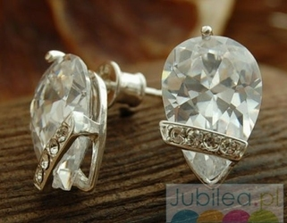 Loza - srebrne kolczyki z kryształem