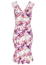 Sukienka shirtowa bonprix biel wełny z nadrukiem