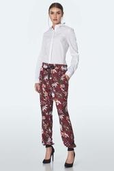 Wzorzyste spodnie z wiązaniem w pasie - bordowe