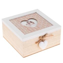 Prowansalska szkatułka retro z miejscem na zdjęcie grawer