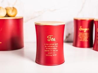 Puszka  pojemnik na herbatę z pokrywą bambusową altom design czerwony, dek. tea