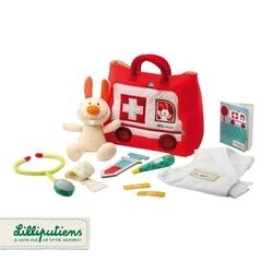 Lilliputiens zestaw małego lekarza z torbą – samochodem, akcesoriami i przytulanką mały królik 9 m+