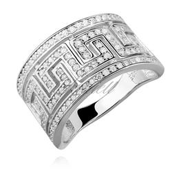 Srebrny pierścionek pr.925 cyrkonia biała, grecki wzór