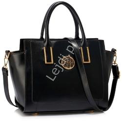 Czarna torebka damska z ekoskórki z ażurową ozdobą