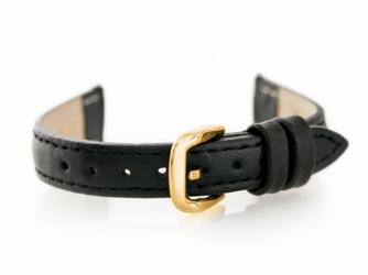 Pasek skórzany do zegarka W30 - w pudełku - czarnyzłoty - 14mm
