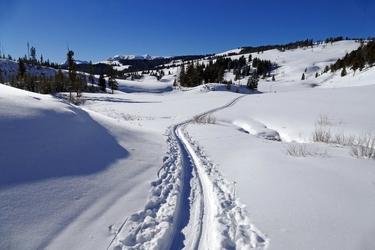 Fototapeta ślad na śniegu prowadzący przez dolinę fp 1696