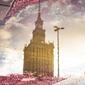 Warszawa pałac kultury w odbiciu - plakat premium wymiar do wyboru: 29,7x42 cm