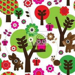 Obraz seamless owl drzewo farm animal w wektor wzór