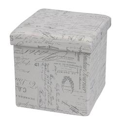 Pufa tapicerowana Bakko, szara z grafiką