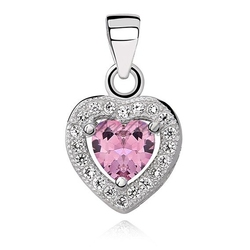 Srebrna zawieszka pr.925 serce z różową cyrkonią