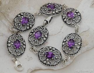 Asti - srebrna bransoletka z ametystem