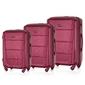 Zestaw walizek podróżnych twardych abs solier stl946 burgundowy - burgundowy