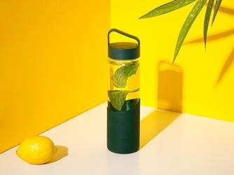 Bidon  butelka na wodę szklana w silikonowej osłonie altom design 550 ml zielona