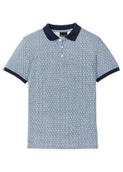 Shirt polo w graficzny deseń bonprix niebiesko-biały w graficzny deseń