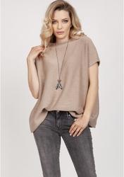 Luźny sweter z krótkim rękawem - mocca