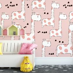 Tapeta dziecięca - pink giraffe , rodzaj - tapeta flizelinowa laminowana