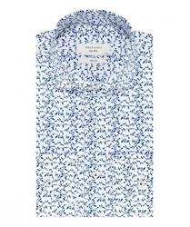 Elegancka biała koszula profuomo sky blue w granatowy roślinny wzór 44