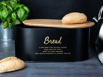 Chlebak  pojemnik na chleb i pieczywo metalowy z pokrywką bambusową altom design, dek. bread czarny
