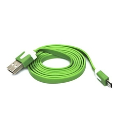 Kabel usb 2.0, usb a  m- usb micro m, 1m, płaski, zielony