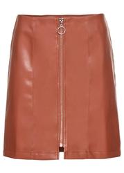 Spódnica ze sztucznej skóry z zamkiem bonprix czerwony kwarcowy