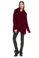 Bordowy luźny sweter z golfem z kopertowym dołem