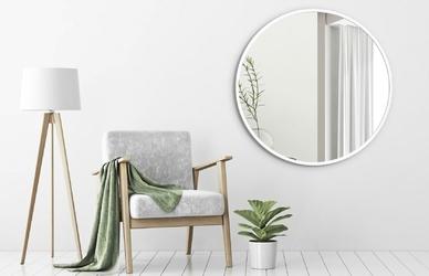 Okrągłe lustro scandinavia z białą ramą