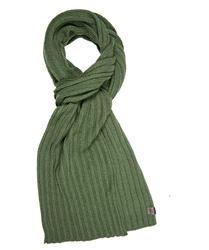Elegancki zielony szal w prążek z wełny i kaszmiru