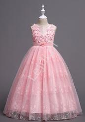 Fenomenalna sukienka dla dziewczynki w jasno różowym kolorze, koronka, tiul 831