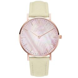 Zegarek damski pasek skóra tarcza melanż beżowy - cytrynowy