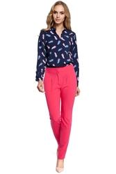 Eleganckie spodnie damskie cygaretki różowe m303
