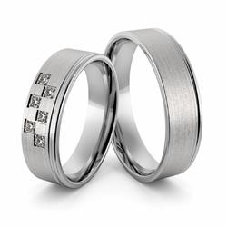 Obrączki ślubne z białego złota niklowego z brylantami - Au-999