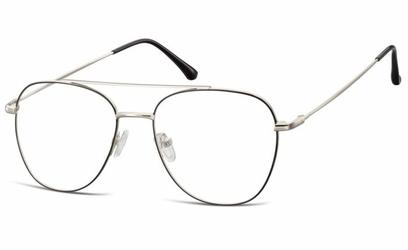 Oprawki okulary  pilotki zerówki korekcyjne 922g czarno-srebrne