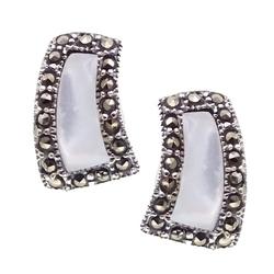 Nana srebrne kolczyki markazyty masa perłowa romb