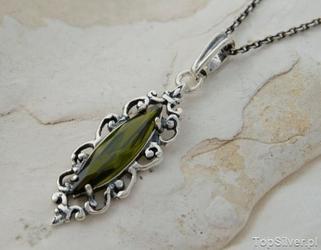 Bosu - srebrny wisiorek z oliwinem