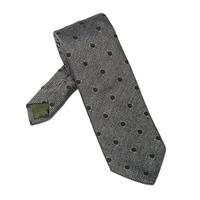 Elegancki szary krawat bigi w zielone grochy