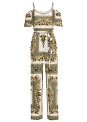 Kombinezon z nadrukiem bonprix oliwkowo-biało-złoty kolor
