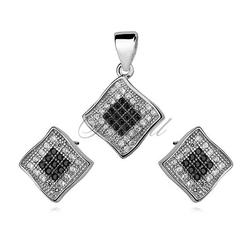 Srebrny elegancki komplet pr.925 cyrkonia biała i czarna - romb