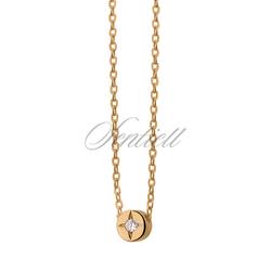 Srebrny naszyjnik pr.925 z okrągłą zawieszką złocony - Biała  Żółte złoto