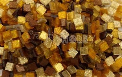Mozaika glitter brązowa 5x5 mm - 700 sztuk - BRĄZBRO