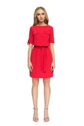 Krótka sukienka na co dzień z paskiem czerwona s029
