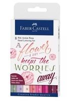 Pisaki artystyczne faber-castell - pitt artist pens hand lettering pinks - zestaw 8 szt