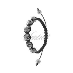 Bransoletka sznurkowa pr.925 biała z czarnym wzorem