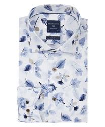 Biała koszula profuomo w liściasty wzór slim fit 43