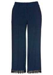 Spodnie culotte z koronkową tasiemką bonprix ciemnoniebieski
